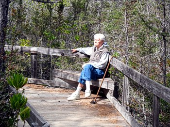 A walker with a cane resting on an accessible trail through the pygmy forest on the Mendocino Coast.