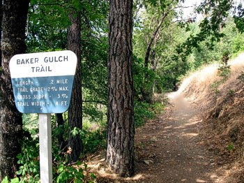 The Baker Gulch Trail begins from the end of the campground, and is a delightful escape to a lush canyon and babbling brook.